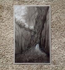 Randy Ortiz Original Pencil Charcoal Pastel Drawing Tree Smoke Chimney Forest