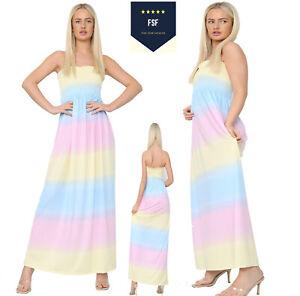 Womens Ladies Bandeau Strapless Summer Long Boobtube Rainbow Sheering Maxi Dress