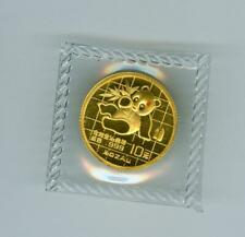 CHINA 1989 10 YUAN GOLD PANDA 1/10 OZ. .999 GOLD GEM BU SEALED W. RED SPOTS