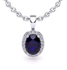 "14K WHITE GOLD 1 3/4 CT OVAL SAPPHIRE AND HALO DIAMOND NECKLACE WITH 18"" CHAIN"