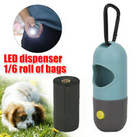 Dog Poo Bag Pet Waste Poop Pick Up Garbage Bags LED Dispenser+1/6 Roll Poop Bags