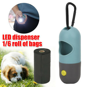 Dog Poo Bag Pet Waste Poop Pick Up Garbage Bags LED Dispenser+1/6 Roll Poop Bags