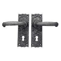 "6"" Elton Pewter Lever Door Handles Set Latch Lock Bathroom Heavy Pewter Handle"