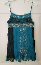 At Last~Gorgeous Sz S Lacy Crinkle Pleat Sleeveless Swing Top Cami~Juniors
