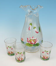 Antique Glass Pitcher + Tumblers w/ Enameled Water Lily Iridescent Bohemian Art