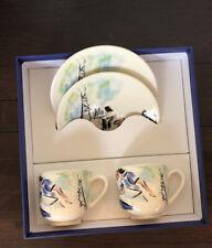 Gien France Joli Paris Espresso Cups & Saucer 2 Sets