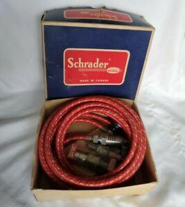 Circa 1960s Schrader #8888 RG Spark Plug Tire Pump with Gauge in original box