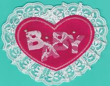 """5.5"""" Red Lace Edge Pink Fuchsia Baby Heart Lace patch"""