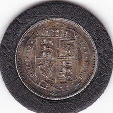 Queen   Victoria  1887   Sixpence  (6d)  Silver  (92.5%)   Coin
