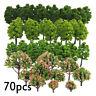 70x Plastic Model Trees HO Mni Scale Layout Train Garden Park Buildings Diorama