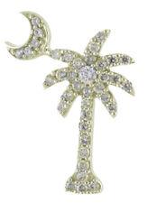 "14k Yellow Gold .50 Ct Diamond Palm Tree Pendant With 18"" Chain"