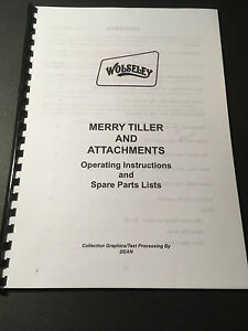 Merry Tiller Rotovator & Attachments Complete Manual Set - 89 Pages