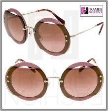 33d0c472d1a8 MIU MIU REVEAL 06S Gold Pink Burgundy Round Mirrored Sunglasses MU06SS  Authentic