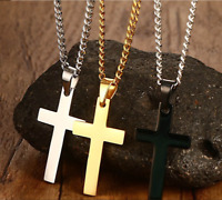 Men Silver Cross Pendant Necklace Chain Gold Stainless Steel Christ Jesus