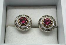 Fabulous Vintage 14ct White Gold Pink Tourmaline &  Coloured Diamond Earrings