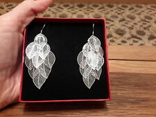 leaves earrings and gift box Brand new 925 stamped Silver dangle