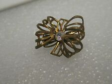 Vintage Gold Tone 1950's Bow Brooch with A.B. Rhinestone Accent, 3/4""