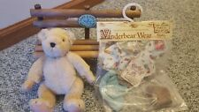 MUFFY VANDERBEAR TAKE A HIKE SOCIETY WOODEN BENCH #5161 w/ outfit and Muffy Bear