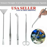 4 IN 1 Aquarium Aquatic Live Plants Long Handle Tweezers Scissors Trim Tool Set