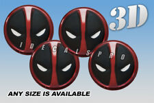 DEADPOOL domed wheel center cap decals emblems stickers 4 pcs ~ ANY SIZE ~ c/b