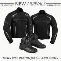 Waterproof Cordura Motorbike Jacket Armoured Coat Motorcycle Leather Boots Shoes