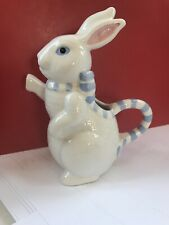 "Cute Vintage Blue White Ceramic Bunny Rabbit Pitcher Creamer By Applause 4"" Tall"