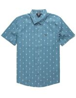 Volcom Mens Shirt Blue Size Medium M Modern Fit Bonga Stripe Button Down $60 020