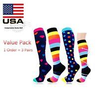 Compression Socks Stockings 3 Pairs Womens Mens Knee High Medical 20-30 mmHG