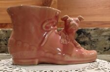 VINTAGE PINK MC COY PUPPY ON A BOOT CERAMIC PLANTER