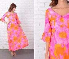 Vintage 70s Vivid Pink + Orange Dress Hawaiian Hippie Bell Slv Psychedelic XS