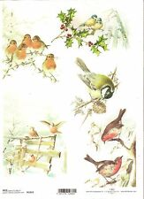 Rice Paper for Decoupage Scrapbooking Christmas Birds Holly A4 ITD R1019