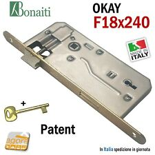 SERRATURA PORTA PATENT FRONTALE 18x240mm BONAITI IN METALLO OTTONE + CHIAVE E50
