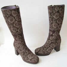 """ANNA SUI TAPESTRY LEATHER BOOTS MID CALF HIGH 3"""" HEELS  size US 6 UK 3 .5 HOT"""