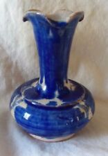 """handcrafted pretty miniture blue clay pottery fluted rim vase 3.25"""" tall mexico"""