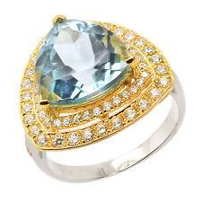 De Buman Two-tone 925 Silver 8.25ctw Triangle Sky Blue Topaz Finger Fashion Ring
