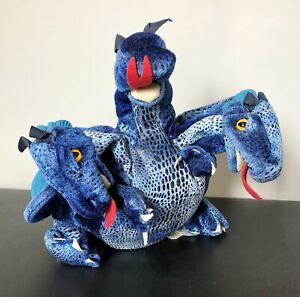 Plush Folkmanis Blue Three Headed Dragon Full Body Puppet By Folkmanis Puppets