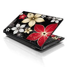 """13.3"""" 15.6"""" 16"""" Laptop Skin Sticker Notebook Decal Black Grey Flower M-6852"""