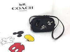 Coach Disney Mickey Mouse F59532 Black Patches Crossbody Pouch Bag Retail $275