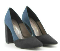 MADE IN ITALIA Giada Women's Leather Heels Pumps in Black & Blue New