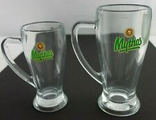Lot of 2 Mythos Beer Glasses Greece Brewery 0.5 L and 0.3 L