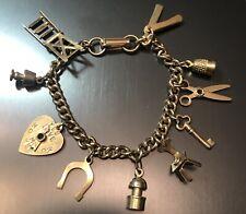 Vintage Jewelry CHARM BRACELET FULL of Moving Charms Gold Tone Heart Horseshoe &