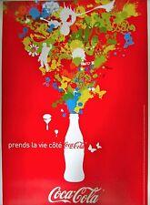 Original Vintage French Coca-Cola Advertisement Poster on Linen