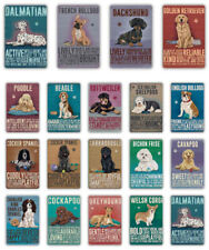 Dog Breeds Decorative Plaque, Metal Tin Sign Garden, Home, Dog Cafe, Dog Hotel