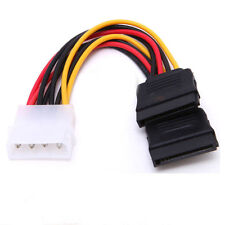 4 Pin IDE Male Molex to Dual SATA Y Splitter Female HDD Power Adapter Cable-NEW