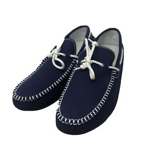 Cole Haan Men's Sz 10 Grand.OS Blue Navy Canvas Boat Shoes Moccasin Loafers Tie