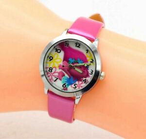 Girl Kids Pink Trolls Poppy Wrist band Watch Easter Christmas Gift her relógio