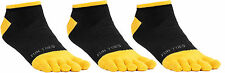 FUN TOES Men Toe Socks 3 Pairs Size 10 to 13 Shoe 6 to 12.5  Black with yellow
