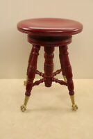 Antique Hardwood Swivel Piano Stool Claw Foot Merriam Co Circa 1900 Massachusets