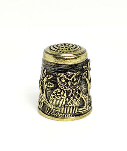Thimble OWL BIRD on TREE Forest Solid Brass Metal Russian Collectible Souvenir