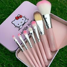 Mini Hello Kitty Makeup Cosmetic Brush 7PCS Set Kit Iron Metal Box Cute Gift New